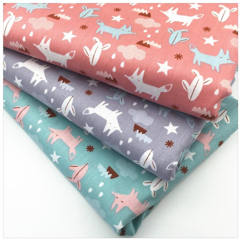 Cartoon fox print twill cotton fabric tissue kids cloth for Kids cotton fabric