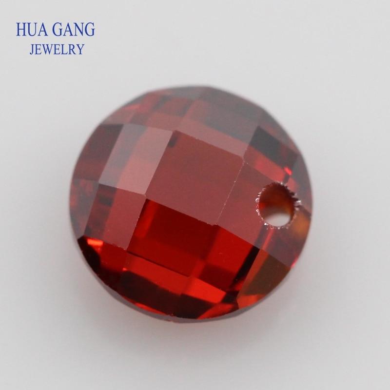 Single Hole Garnet AAAAA Round Brilliant Garnet Double Checkerboard Cubic Zirconia Stone For DIY Jewelry 3~14mm High Quality CZ