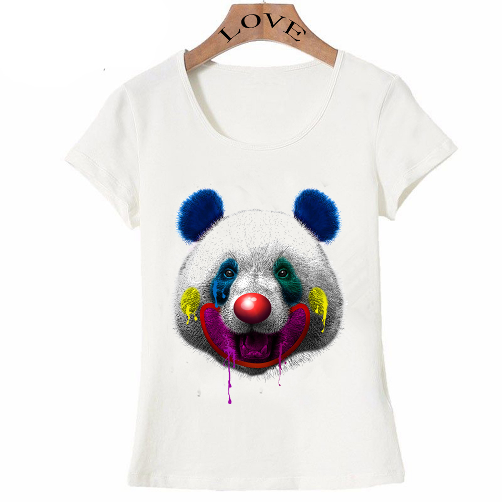 Color printing quality - Crazy Summer Fashion Women S Panda Clown T Shirt Good Quality Colorful Printing Tops Hipster Cool