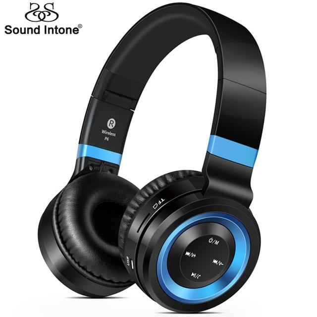 Sound Intone P6 Беспроводной Гарнитуры Bluetooth 4.0 Наушники с Микрофоном Поддержка TF Карта Fm-радио для MP3 Мобильных Телефонов Ноутбук