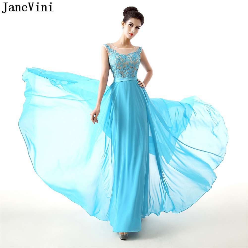JaneVini Simple Chiffon Long   Bridesmaid     Dresses   Scoop Neck Lace Applique Backless A Line Plus Size Prom Party Gowns Floor Length