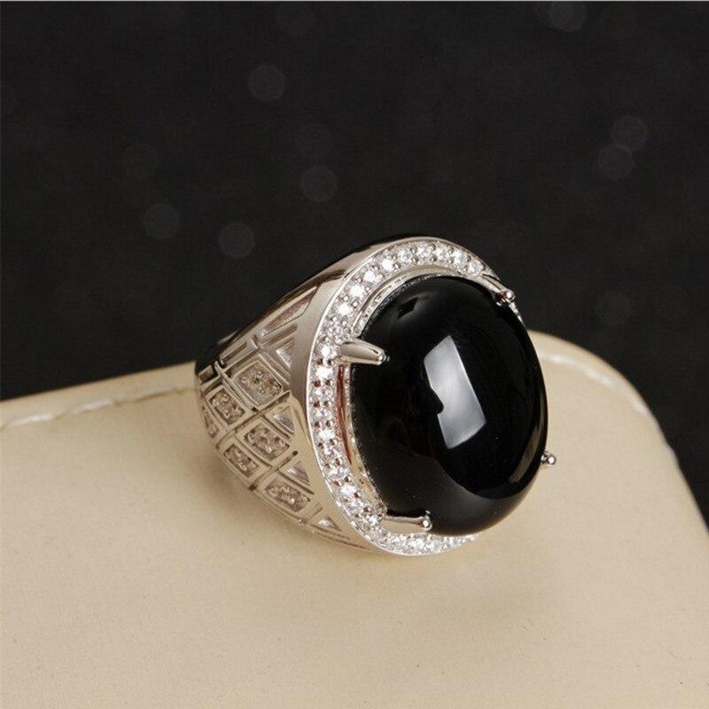 925 כסף טבעת אבני חן טבעי שחור טבעי תכשיטי יד למכירה חמה גברים MEDBOO 13.82ct אגת טבעת אירוסין מסיבת קלאסי