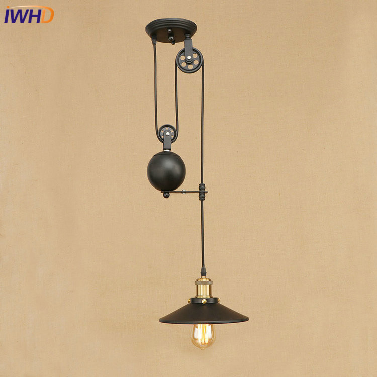 IWHD Iron Roller Skating Ceiling Lights Loft Vintage Industrial Ceiling Lamp Fixtures Home Lighting Lamparas De Techo Avize