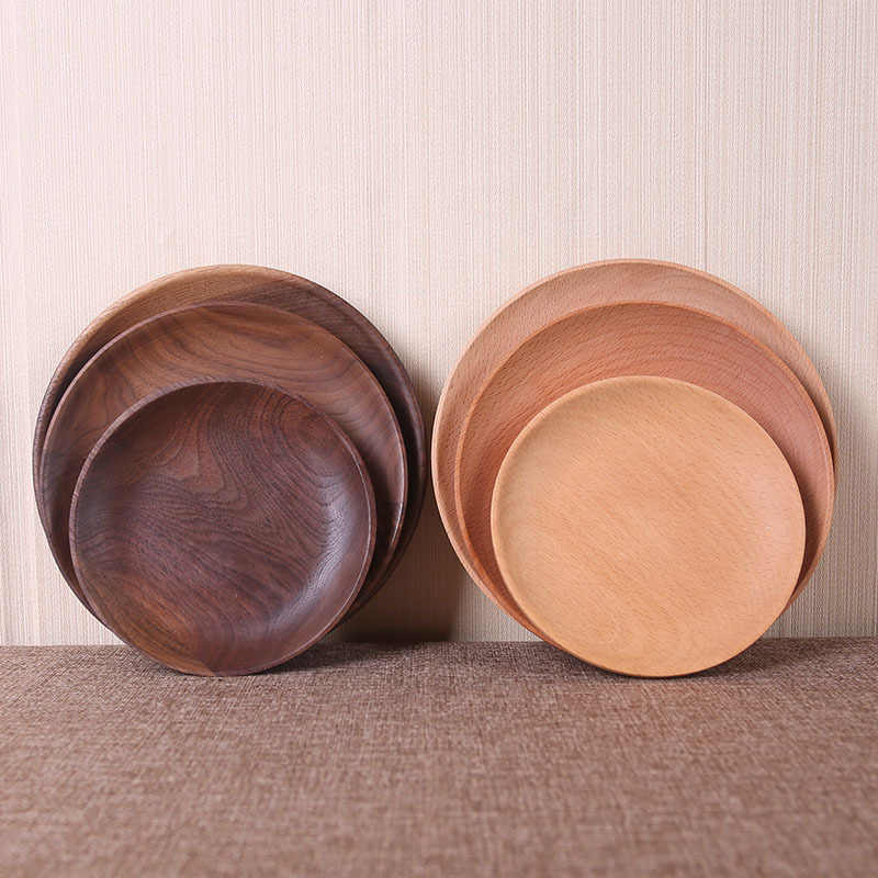 High Quality Wood Plates Wooden Tableware Dinner Plate Food Dessert Tea Plate Round Handmade Sushi Dish For Daily Uses Or Gifts