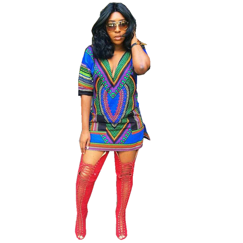 African Print Fashion: Fashion Womens Dashiki Dress T Shirt V Neck Blue Dresses