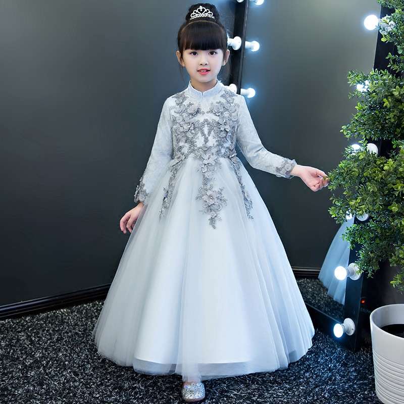 2017New Autumn Winter long sleeves kids Children Princess Lace dresses for4-13 years Kids Girls Christmas Party Dress Clothes 2017 autumn new style 3 10 years girls dresses children bud silk princess dress long sleeved red christmas party dress