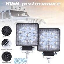 2pcs 90W 6000K 9000LM Square Waterproof LED Work Light Car Headlight Bulbs for Off-Road Suv Boat 4X4 Jeep Truck Cars