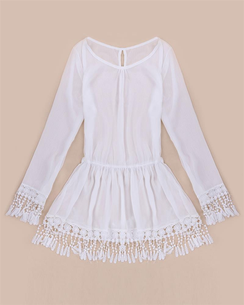 ZANZEA 2017 Summer Women Boho Tassel Lace Dress Sexy Crochet Tunic Beach Party Dresses Black White Chiffion Vestidos Plus Size 18