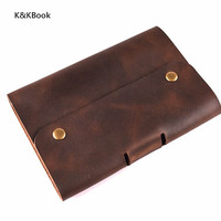 KKBook Logo Customerized Genuine Leather Notebook A5 A6 Vintage Cowhide Diary Spiral Loose Leaf Journal Notepad