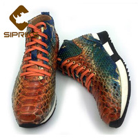 Sipriks Luxury Brand Mens Genuine Snakeskin Casual Shoes Fashion Python High Top Sneakers Genuine Snakeskin Shoes Black Blue New