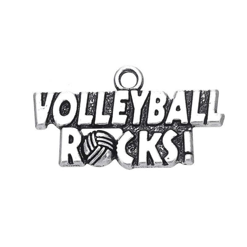 RAINXTAR Antique Silver Color Volleyball Rocks Alloy