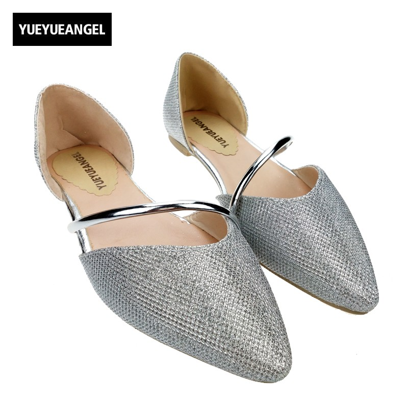 New Arrival Spring Fashion Womens Flats Pointy Toe Flat Shoes Sexy Ladies Glitter Korean Sweet Girls Bling Sandals Shoes new 2017 spring summer women shoes pointed toe high quality brand fashion womens flats ladies plus size 41 sweet flock t179
