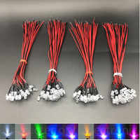 10-20-50-100pcs 3mm/5mm Red/Green/Blue/RGB 3V 5V 12V DC Round Pre-Wired Water Clear LED