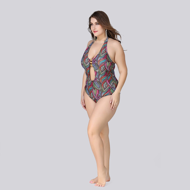 Large Size XL-5XL One Piece Swimsuit Swimwear Women 2019 Sexy Swimming Bathing Suit Female Big Size Beachwear 4