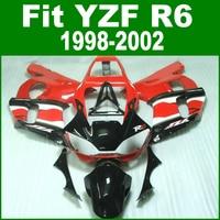 F AiringsสีแดงสำหรับYAMAHA R6 98-02ชุดเครื่องบินเอบีเอส(สี