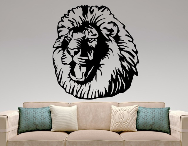 lion head sticker lion wall decal african animal mural living room