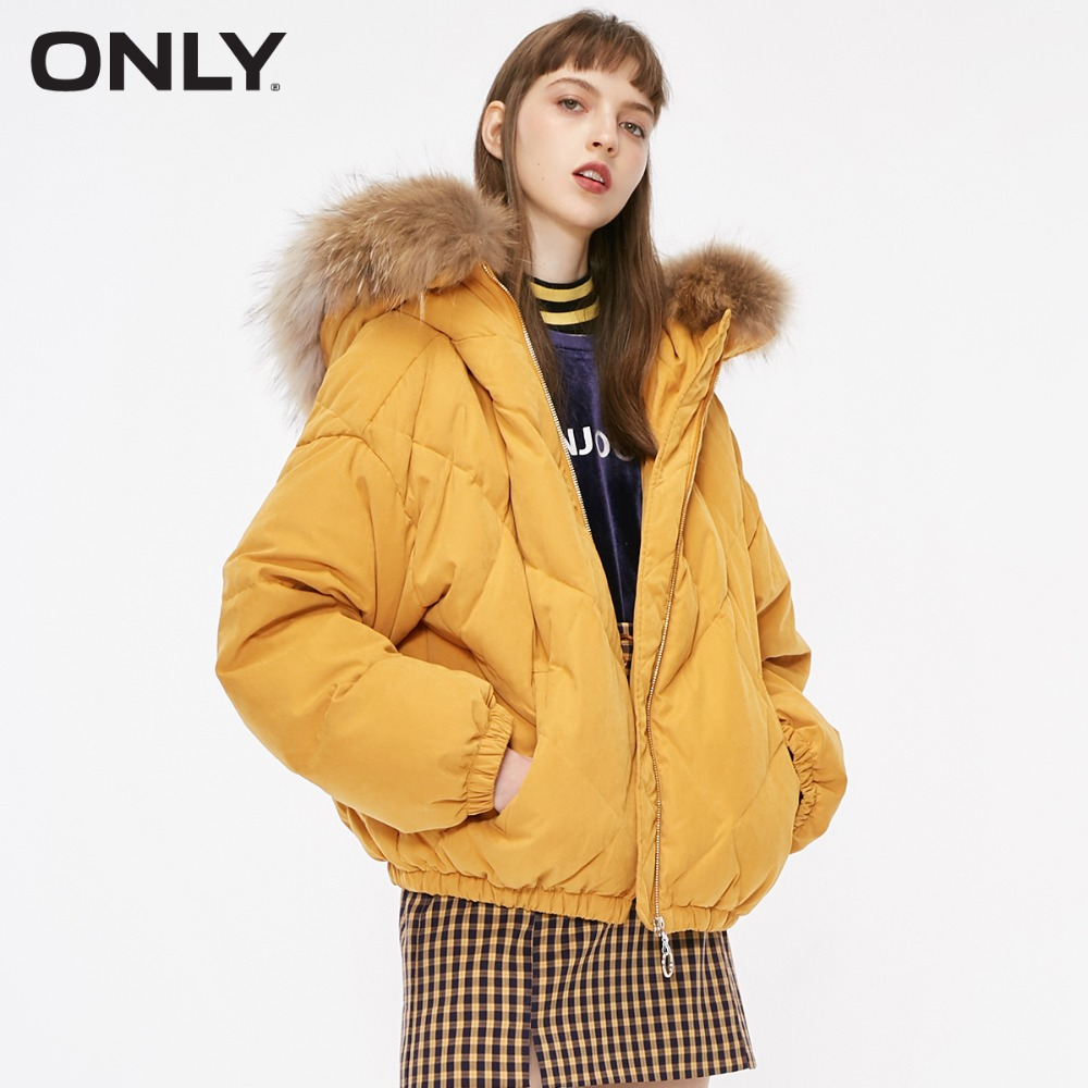 ONLY  Womens' Winter New Raccoon Fur Collar Bread Down Jacket Beam Hem Rhombic Stitching Design|118312563