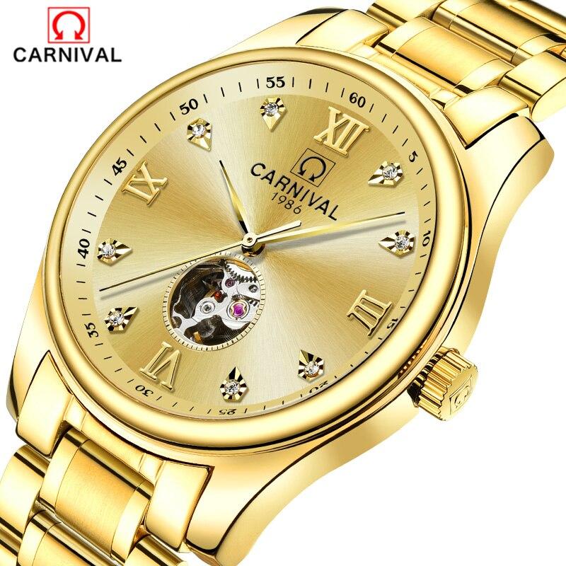 2018 Karnaval Erkek Saatler Otomatik Kendini rüzgar Erkekler Safir reloj hombre Iskelet saat Lüks Marka Elmas İsviçre|Mekanik Saatler|Saatler - title=