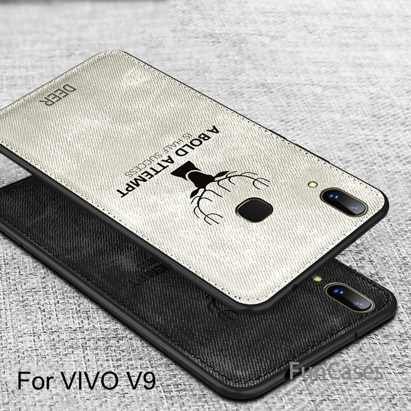 VIVO V9 Case Newest Cartoon 3D deer Vintage Fabric cloth Fitted Case Soft TPU edge full protection for vivo v9 6.3