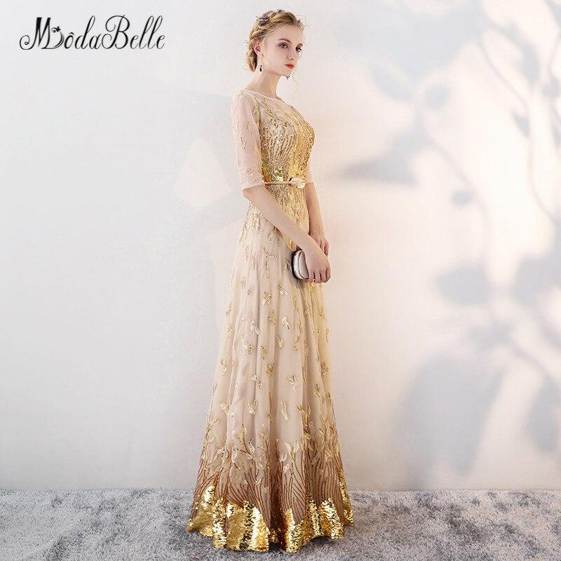 Modabelle or Sequin robe de bal avec manches modeste 2018 étage longueur robes de célébrité élégant robes robe de soirée formelle - 5
