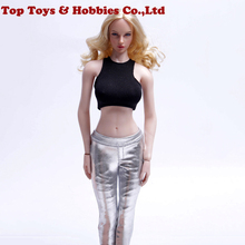 1/6 sexy girl figure clothing Silver Tights Pants+ short vest Action Figure Clothes For 12'' TBLeague large bust Seamless Body цены онлайн