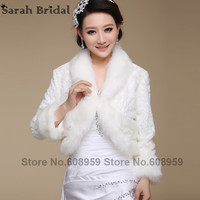 New bridal giacca cappotto di pelliccia del faux bianco avvolge bolero scrollata di spalle da sposa scialli e impacchi accessori da sposa elegante in magazzino 17019