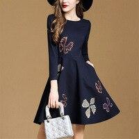 العلامة التجارية تصميم أنيق emboridery سطر فستان زهري النساء تسعة كم الربع يتأهل الأزرق الداكن الخريف فساتين س الرقبة زائد الحجم