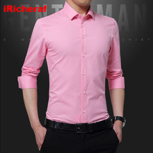 цена iRicheraf 2019 Non-ironing Mens Dress Shirts Formal Business Men White Pink Shirt Casual Slim Fit High Quality Plus Size M - 5XL