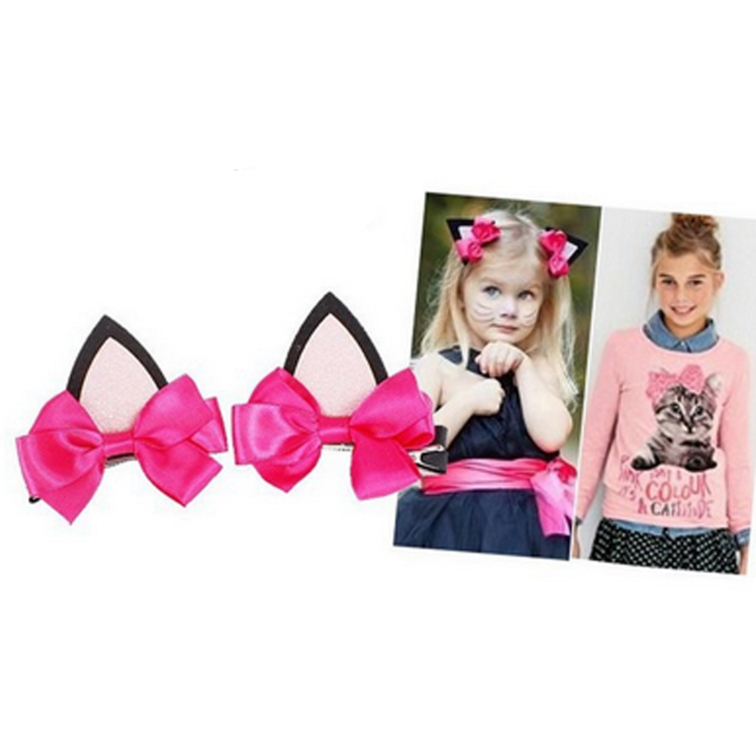 2PCS=1 Pair Children Baby Girls Hair Accessories Clip Kids Hairpins Barrettes Bow   Headwear   Flower Cat Ears