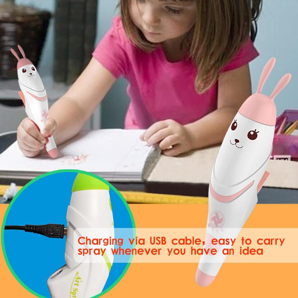 Creative Novel Spray Art Electric Airbrush Marker Set DIY Magic Pen Coloured Markers Children Education Printing Drawing Pen Toy