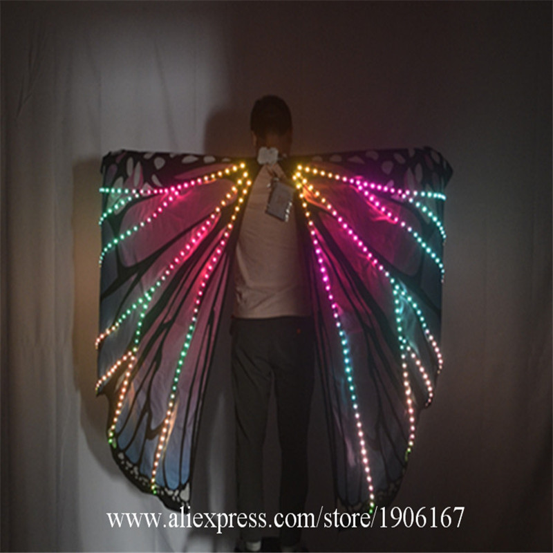 Ballroom dance led costumes luminous light dj dance colorful cloak butterfly wings catwalk perforamance dress clothe show dj03