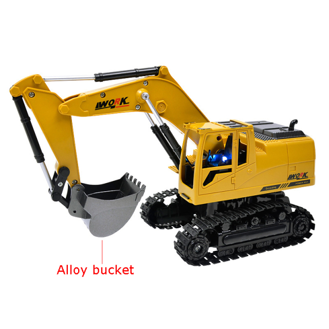 8CH Simulation RC excavator toys with Music and light Children's Boys RC truck toys gifts RC Engineering car tractor brinquedos 1
