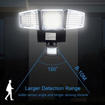 1000LM 188 LED Solar Light Motion Sensor Security Lamp Waterproof Three Head Outdoor Light For Entryways, Patio, Yard, Gardren 4