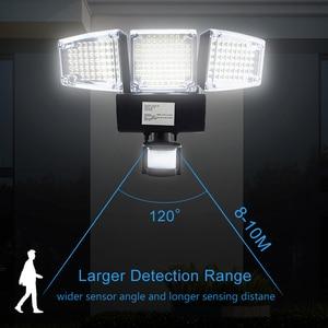 Image 4 - 1000LM 188 LED Solar Light Motion Sensor Security Lamp Waterproof Three Head Outdoor Light For Entryways, Patio, Yard, Gardren