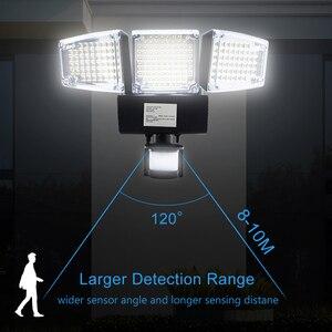 Image 4 - 1000lm 188 led luz solar sensor de movimento lâmpada segurança à prova dthree água três cabeça luz ao ar livre para entradas, pátio, quintal, gardren