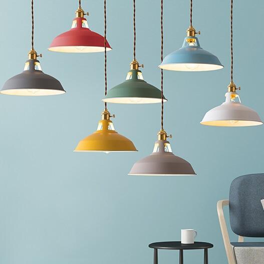 ססגוני צל LED Macarons תליון אורות מודרני מסעדת מנורה עם מתג תליון מנורות מעוות חוט עיצוב בית תאורה