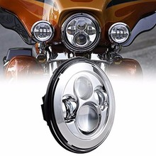 For Harley Touring Electra Street Glide Stickers Softail LED Headlight 7″ Projection Head Light Lamp