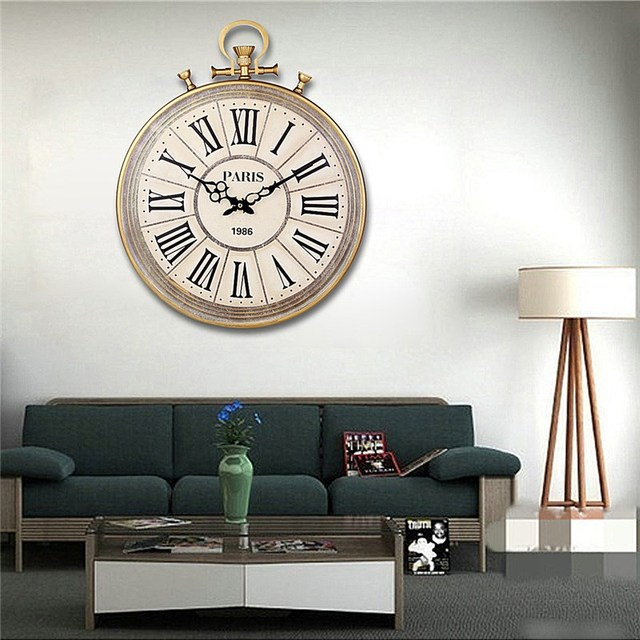 Charminer Absolutely Mute Quartz Wall Clock Retro Roman Numerals Large Living Room Wall Decorations Black Ornate Clock Hand