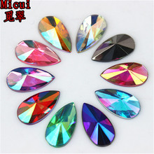 100pcs 8*13mm Mix Color Crystal Drop Rhinestones FlatBack Acrylic Stones For Jewelry Making Clothes Decorations ZZ308M