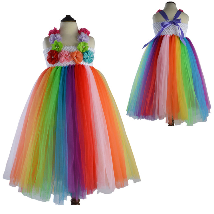 2017 New Summer Baby Girl Dresses Princess Kids Clothes Girls Flower Tulle tutu Chiffon Spring Dress for Toddler Girls wedding