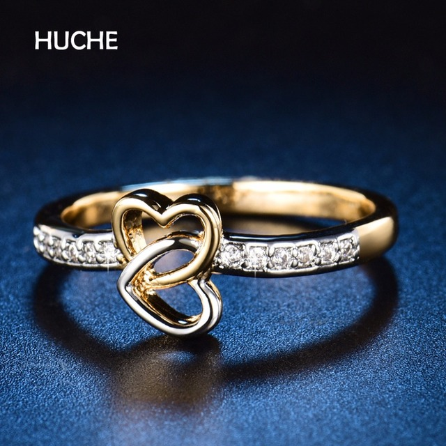 Huche Double Cross Heart Wedding Rings For Women Cute Low Price