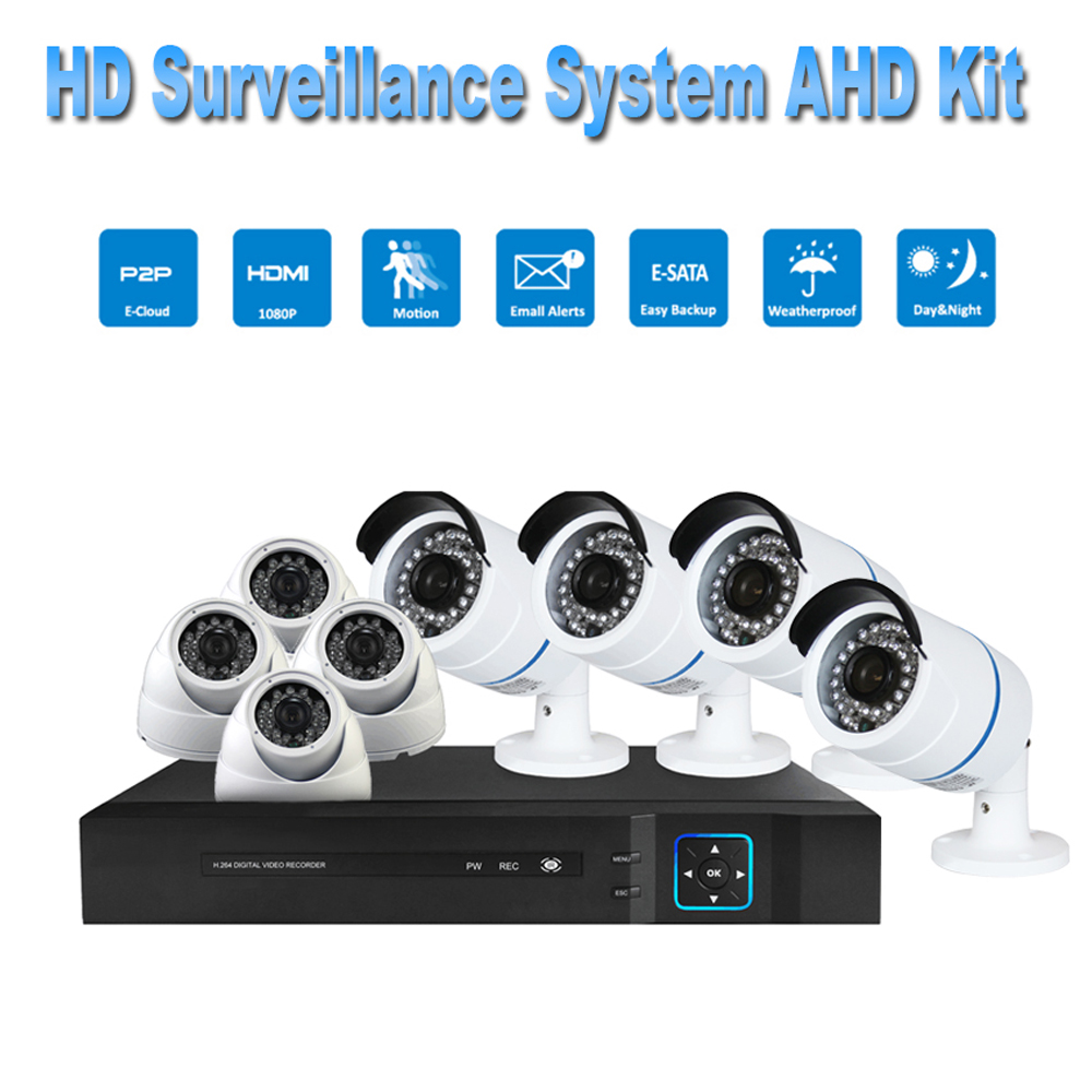 PUAroom 8CH AHD surveillance camera RoHS FCC CE approved H.264 onvif video recording Security Camera Systems