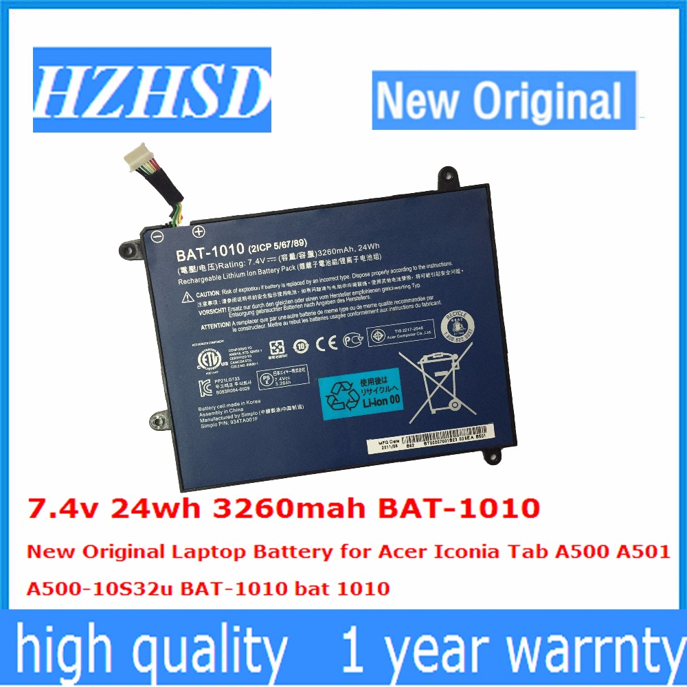 7.4v 24wh 3260mah BAT-1010 New Original Laptop Battery For Acer Iconia Tab A500 A501 A500-10S32u BAT-1010 Bat 1010
