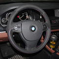 Car- Styling New Anti Slip Swede Leather Steering Wheel Stitch on Wrap Cover For BMW 525i 520