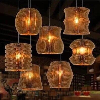 Vintage papier Rural nid d'abeille lampe soutien gorge pendentif lumières abat jour papier lanternes pour la maison et la barre design créatif lampe décoration