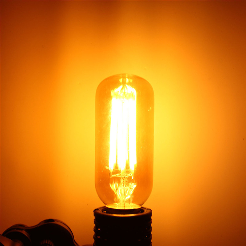 Vintage COB LED Light Edison Bulb E27 E26 T45 6W Dimmable Retro Lamp Filament Tubular Style 600Lumen Warm White AC110V/220V 5pcs e27 led bulb 2w 4w 6w vintage cold white warm white edison lamp g45 led filament decorative bulb ac 220v 240v