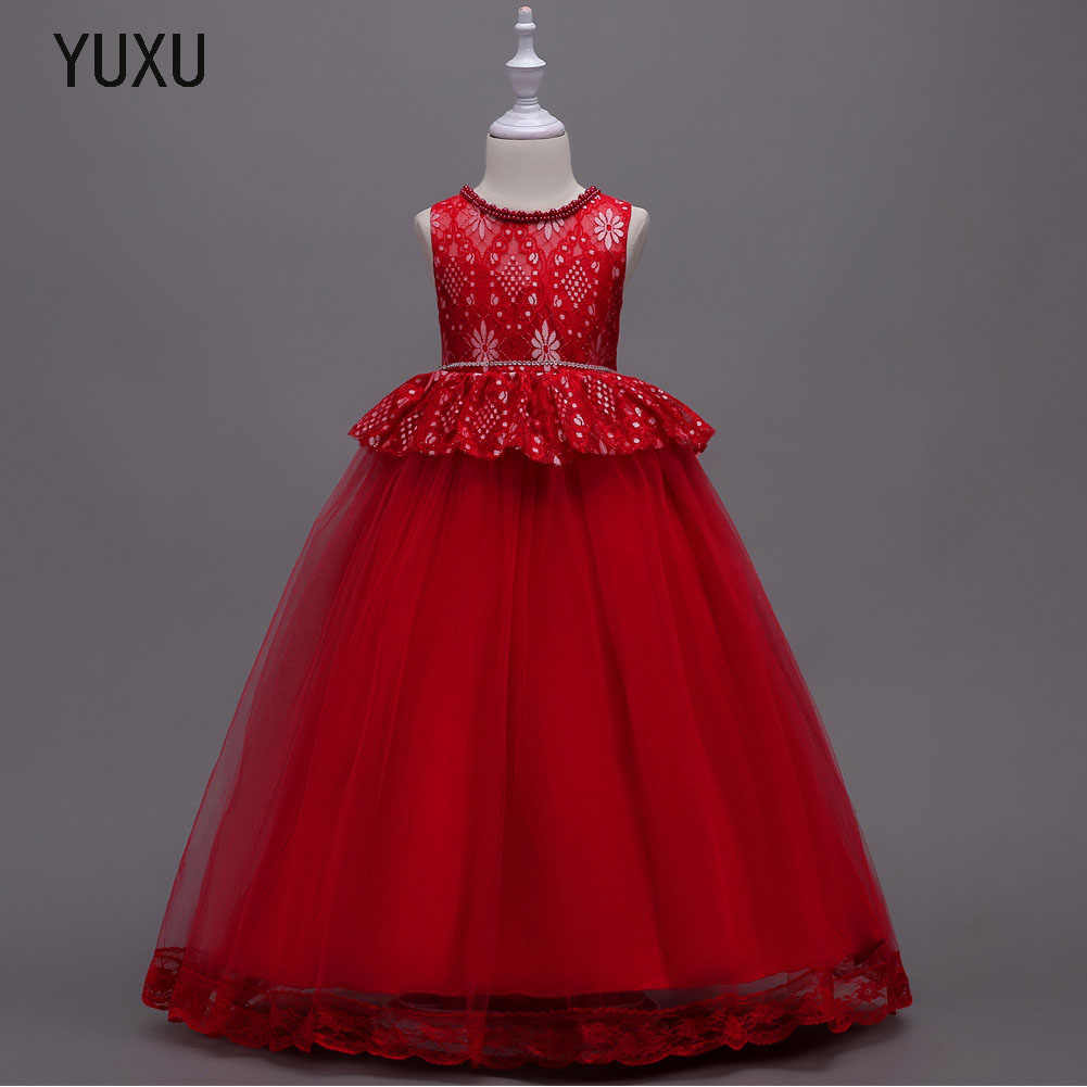 New beading Long Lace Ball Gown Flower Girls Dresses Simple