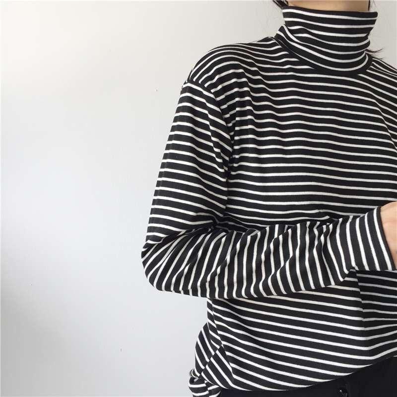 HTB1ZpbWGHSYBuNjSspiq6xNzpXa7 - Fashion Black White Striped Women Long Sleeve T-shirt Turtleneck Female
