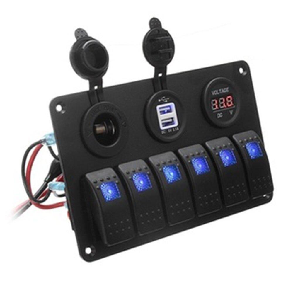 Переключатель 6 банд автомобильный переключатель панель грузовик двойной USB прочный светодиодный караван - Цвет: blue