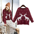2016 Winter Women Christmas Sweater With Deer Casual O-neck Slim Cashmere Pullover Long Sleeve Solid Knitted Sweater Pull Femme
